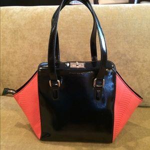 Mellie Bianco Handbags - Mellie Bianco Faux pink snake and black handbag