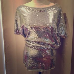 Loveapella silver sequin mixed media tunic top