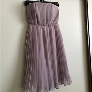 Donna Morgan pale lilac strapless pleated dress