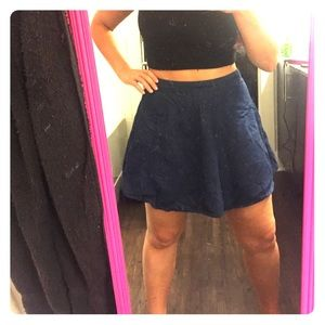 High Waisted Denim Skater Skirt