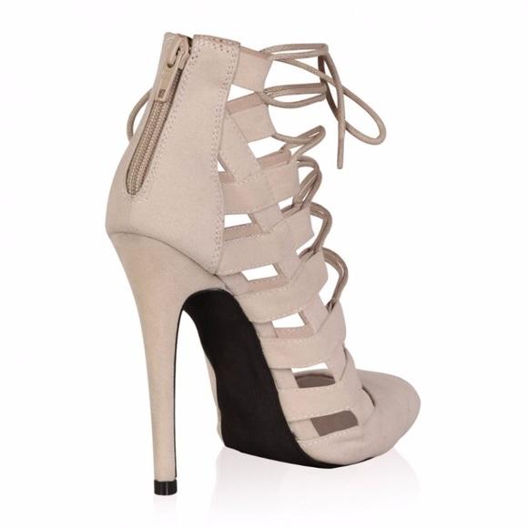 82f5be1263b SALE!!! Public Desire Lace Up Kalia Heels - Nude 8