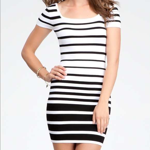 Bebe Dresses Knit Black And White Stripe Bodycon Dress Poshmark