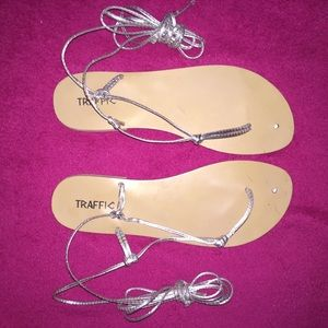 Traffic Shoes - Silver Lace Up Thong Sandals