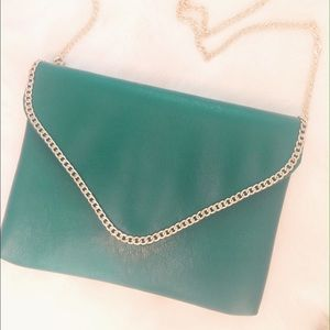 kelly green envelope clutch