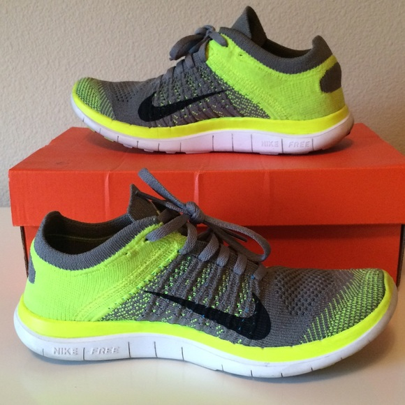 858ae41e3140b Nike Shoes - Women s Nike free 4.0 Flyknit yellow gray shoes