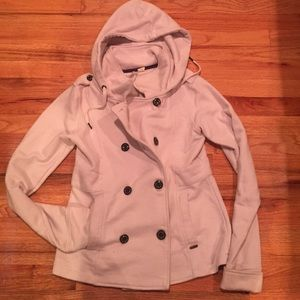 Sweatshirt material double breasted pea coat