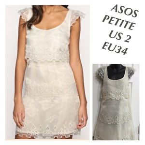 NWT ASOS COCKTAIL BEIGE DRESS US 2 EUR0 34