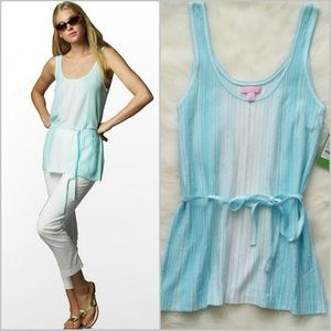 Lilly Pulitzer Tops - Lilly Pulitzer Blue Cedar Tank Pointelle Stripe