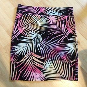 Rainbow palm high-waisted mini skirt