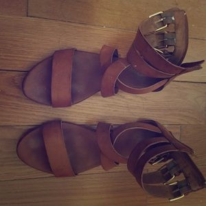 Leather sandals with gold buckles size 6