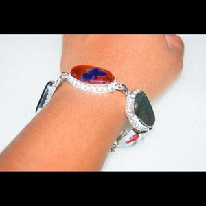 Dichroic Glass Statement Silver Bracelet 7""
