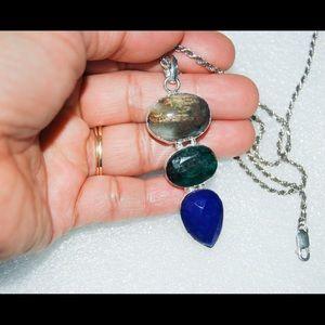 "handmade & handcrafted gemstone jewelry Jewelry - Handmade Jasper,Agate,Blue Onyx Stone Pendant 2"""