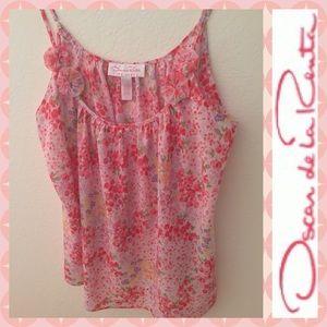 OSCAR DE LA RENTA Pink Collection Floral Chiffon