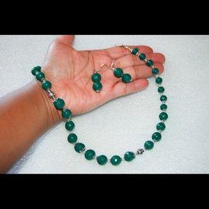 handmade & handcrafted gemstone jewelry Jewelry - SALE Handmade Green Onyx Beads Necklace & Earrings