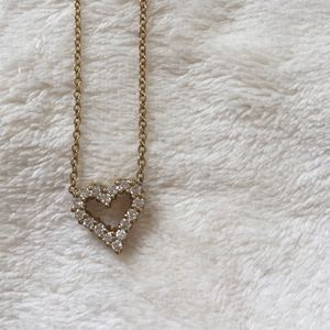 gold•and•rhinestone•heart•necklace