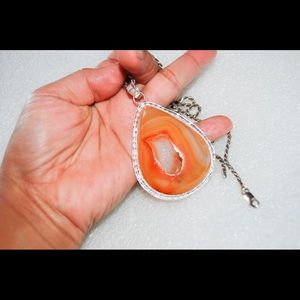"handmade& handcrafted gemstone jewelry Jewelry - Handmade Statement Drusy Pendant 2.5"""