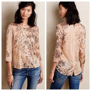 Anthropologie Meadow Rue Button Back Top