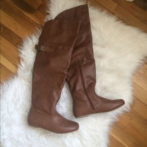 Shoes - *WORN ONCE* Brand new chestnut faux leather boots