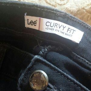 Lee Black Wash Curvy Fit Bootcut Jeans, Size 12