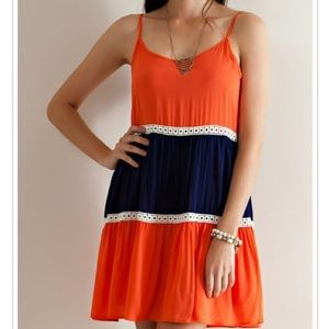 Baby doll color block dress