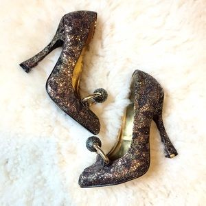 Christian Siriano Shoes - 🎉HP🎉Christian Siriano Runway Bronze Glitter Heel