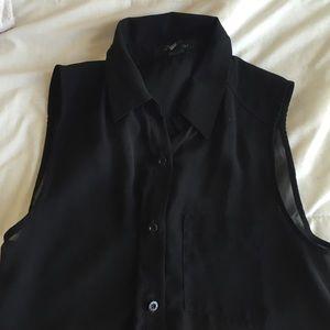 Sheer black button up sleeveless top