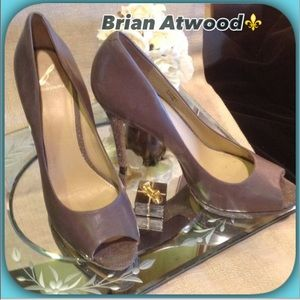 Brian Atwood Shoes - Brian Atwood Dark Taupe With Taupe Shimmer Heels