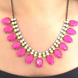 Neon pink & green statement necklace