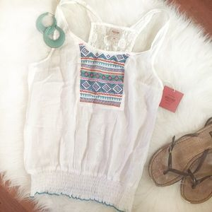 White Tribal and Lace Tank Top