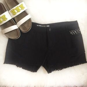 Black Distressed Cutoff Shorts