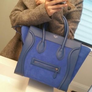 Celine Handbags - Authentic Celine Luggage tote in cobalt blue!