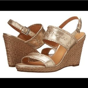 Jack Rogers Vanessa Gold Metallic Wedges 6.5