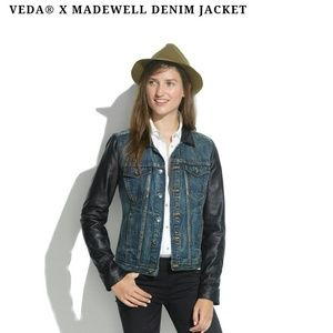 Veda X Madewell leather sleeve denim jacket!