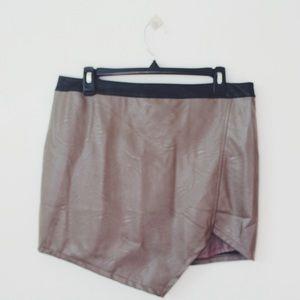 Lyster Dresses & Skirts - Asymmetric Hem Faux Leather Skirt