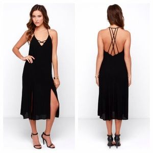 Lush Dresses & Skirts - Black Strappy Midi Dress