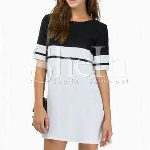 SheIn black & white quarter sleeve contrast dress