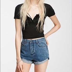 F21 high wasted polka dot denim shorts