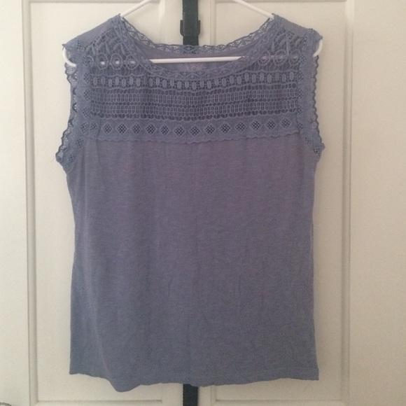 cf9ada56598e1a LOFT Tops - Loft Cornflower Blue Sleeveless Top w Crochet Trim