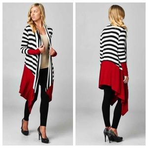 JUST IN✨Plus Size Striped Black/Burgundy Cardigan