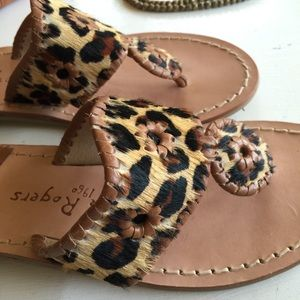 03e24d7db1ac Jack Rogers Shoes - Jack Rogers calf hair sandals / leopard print
