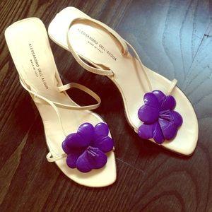 Alessandro Dell'Acqua Shoes - Alessandro Dell'acqua nude heels w/ purple flower