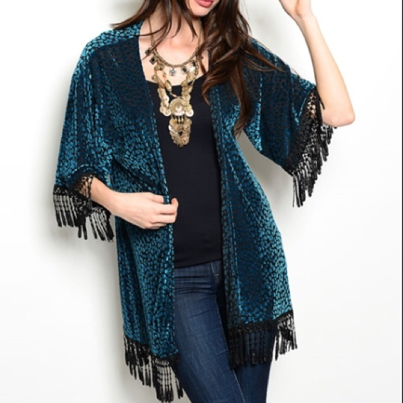 Teal & Black Crochet/Tassel Trim Kimono from *leoninuss ...