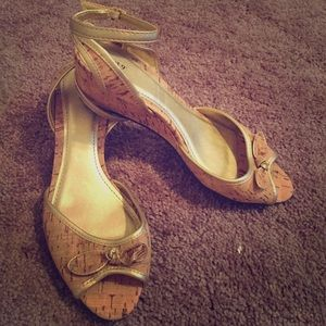 Shoes - New Strappy Cork and Gold Wedge Sandals