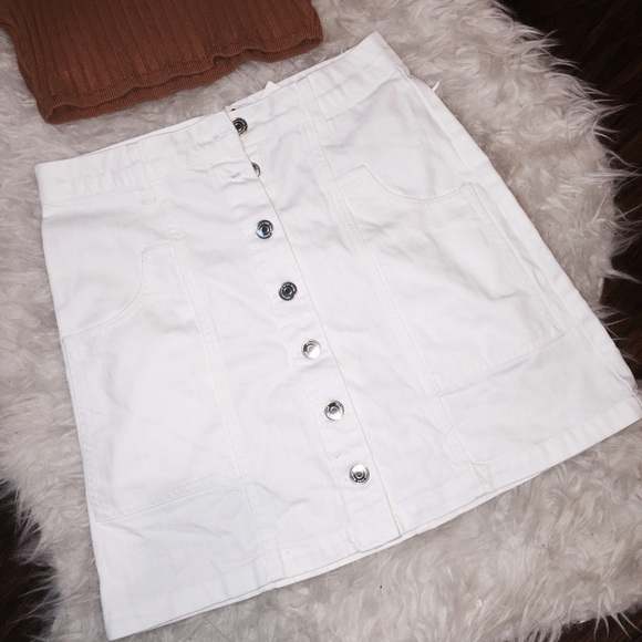 Brandy Melville - Nwt A line white button down denim skirt from ...
