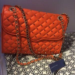 Rebecca Minkoff Orange quilted studded bag
