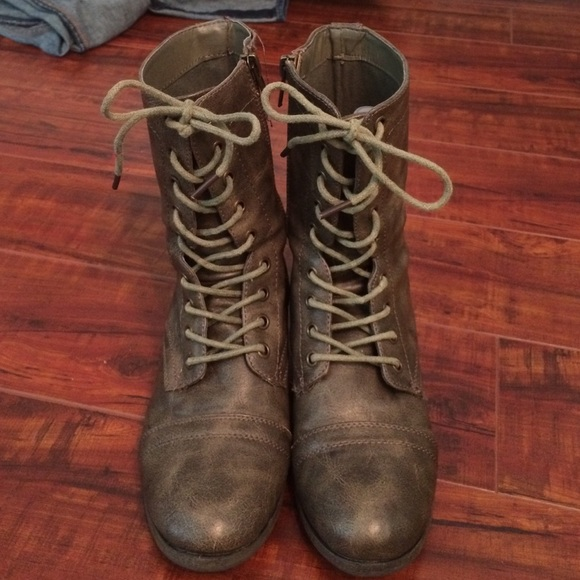 50% off Charlotte Russe Boots - Dark Grey Combat Boots from ...