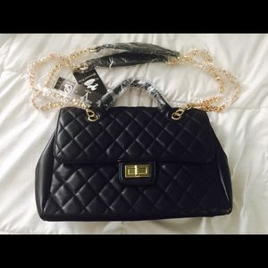 Black quilted double handle NWT handbag