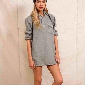 UO Urban Renewal Grey Woven Linen Tunic Shirt