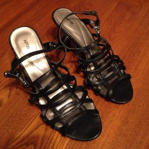 Black scrappy stilettos