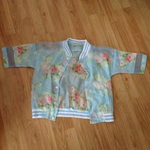 Jackets & Blazers - Sheer flower bomber jacket